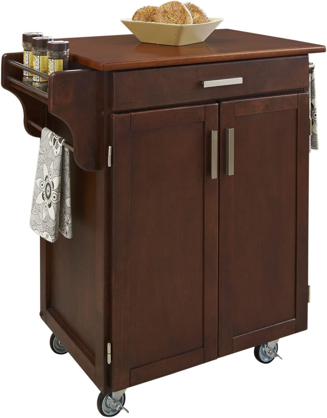 Create-a-Cart Cherry 2 Door Cabinet Kitchen Cart with Oak Top by Home Styles