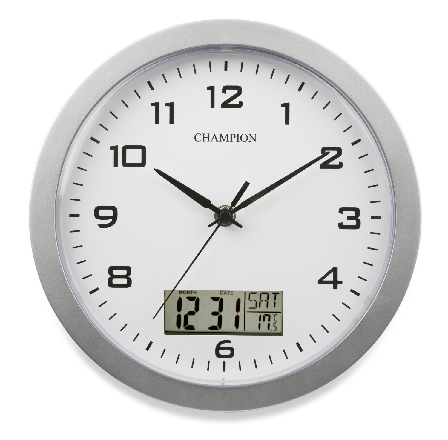 Champion 25cm quartz wall clock with inset lcd display with day champion 25cm quartz wall clock with inset lcd display with daydate silver amazon kitchen home amipublicfo Images