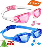 Swim Goggles (2 Pack or 1 Pack), EVERSPORT Swimming Goggles Swim Glasses Anti fog UV Protection for Adult Men Women Youth Kids Child, Shatter-proof, Watertight