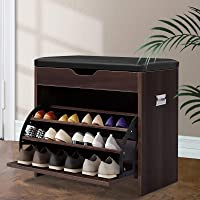 Artiss 15 Pairs Leather Upholstered Shoe Bench,56.5cm Length Wooden Shoe Cabinet, Walnut
