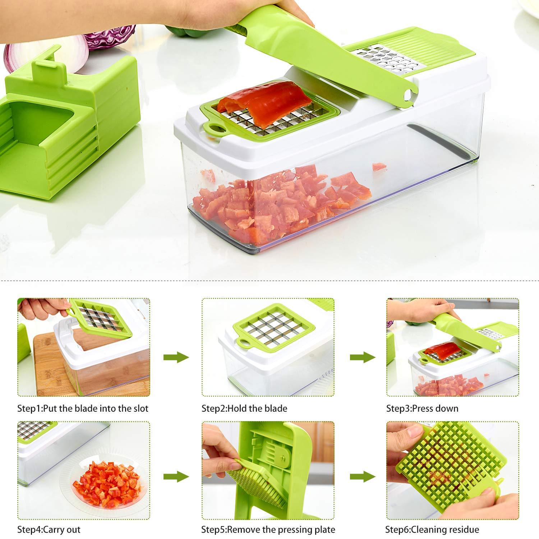 Vegetable Chopper, ONSON Food Chopper Cutter Onion Slicer Dicer, 10 in 1 Veggie Slicer Manual Mandoline for Garlic, Cabbage, Carrot, Potato, Tomato, Fruit, Salad by ONSON (Image #3)