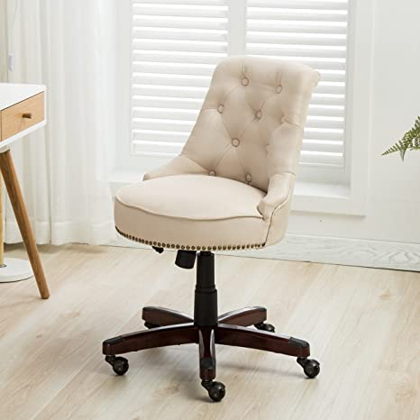 Admirable Belleze Office Chair Tufted Beige Mid Back Height Adjustable Desk Ergonomic Tilt Swivel Task Computer W Wooden Leg Ocoug Best Dining Table And Chair Ideas Images Ocougorg
