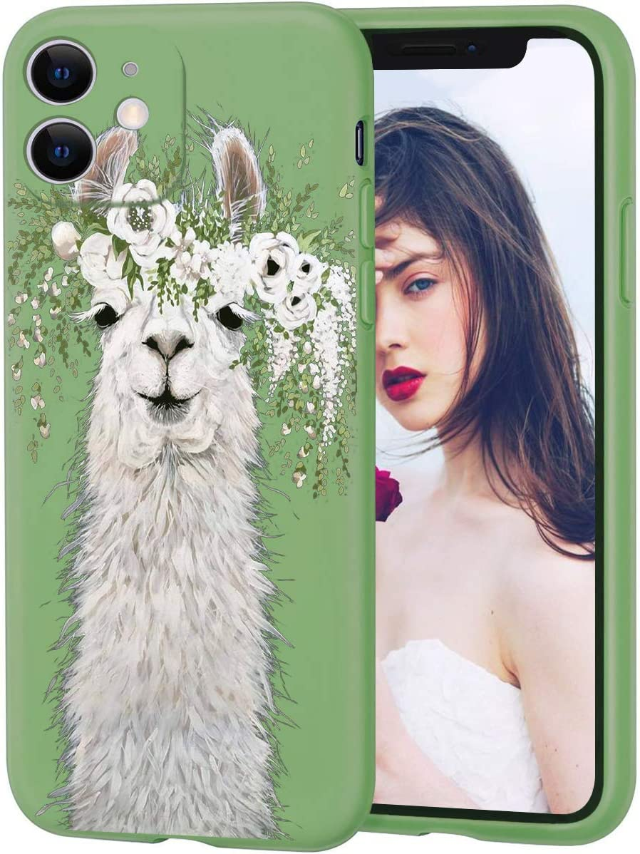 Creforkial Cute Flower Llama Green Case for iPhone XR Liquid Silicone with Anti-Scratch Microfiber Lining Cover for iPhone XR Full Body Protective Cell Phone Case for iPhone XR
