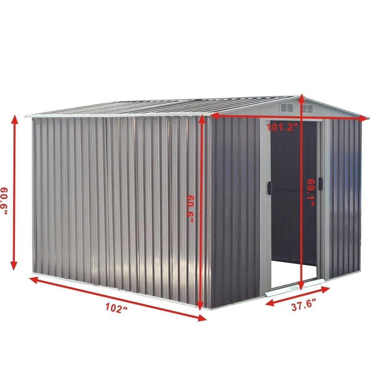 Amazon.com: Cobertizo de acero galvanizado Goplus para ...
