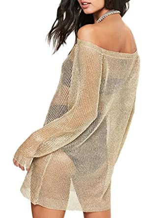 2b4357a933 HaoDuoYi Womens Knit Sexy Off Shoulder Sheer Metallic Gold Pullover Sweater (XL,Gold): Amazon.co.uk: Clothing