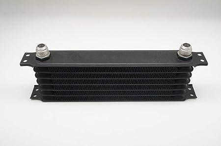"""Image ofAutobahn88 Enfriador ATF de fluido de transmisión automática/aceite universal, 7 filas, tamaño de núcleo compacto 11,8x3,74x2"""" (300x95x50 mm), adaptador AN-10 (negro)"""