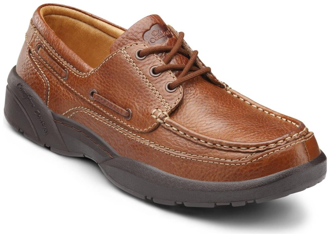 Dr. Comfort Patrick Men's Therapeutic Extra Depth Boat Shoe: Chestnut 12 X-Wide (3E/4E) Lace