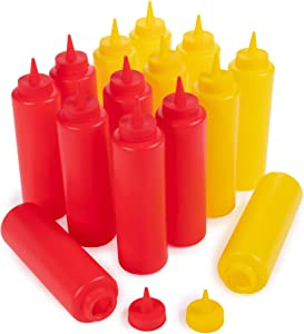 Ketchup and Mustard Squeeze Bottle Value Combo Pack | 14-pack, 16-oz Plastic Kitchen Table Condiment Squirt Dispenser Bundle | Restaurant Supplies for Food Truck, Grilling, Dressing, BBQ Sauce, Crafts