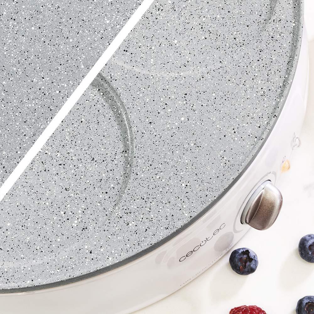 Cecotec Crepera Fun CrepeStone Twin. 1200 w de potencia y revestimiento antiadherente de piedra ecológico rockstone con placa reversible para preparar ...