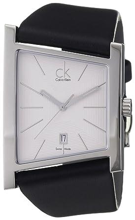 Cuir 35mm Calvin Date Montre Klein Homme Noir Crocodile Bracelet 0P8OkwXn