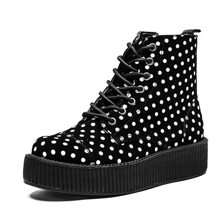 T.U.K. Shoes Women s White Boot Polka Women Dot Shoes Print Viva 7 Eye Boot White & Black f830dfc - therethere.space
