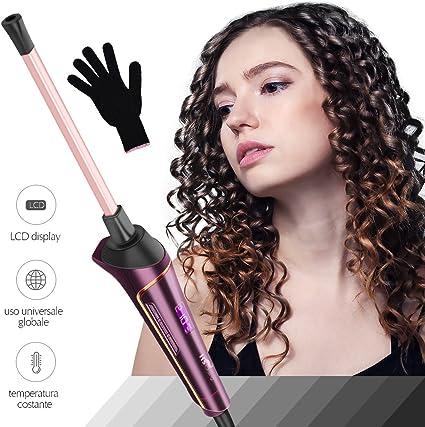 Rizador de Pelo, HS Onsing Tenacilla de pelo Rizador profesional Rizadora 9mm de cerámica para el pelo Sin tenacilla pantalla LCD recubrimiento Keratin & Shine morado: Amazon.es: Belleza