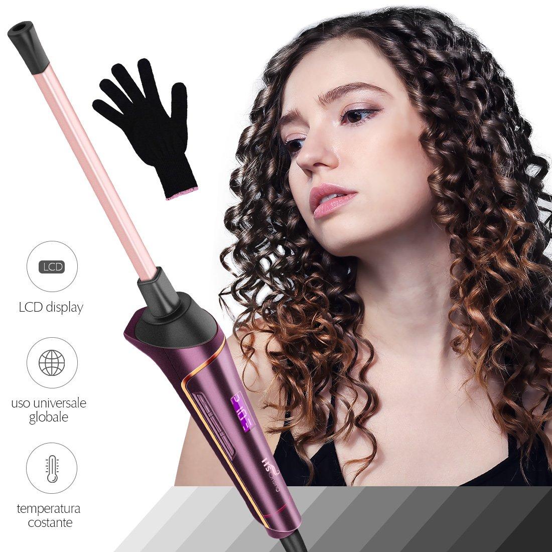 Rizador de Pelo, HS Onsing Tenacilla de pelo Rizador profesional Rizadora 9mm de cerámica para el pelo Sin tenacilla pantalla LCD recubrimiento ...