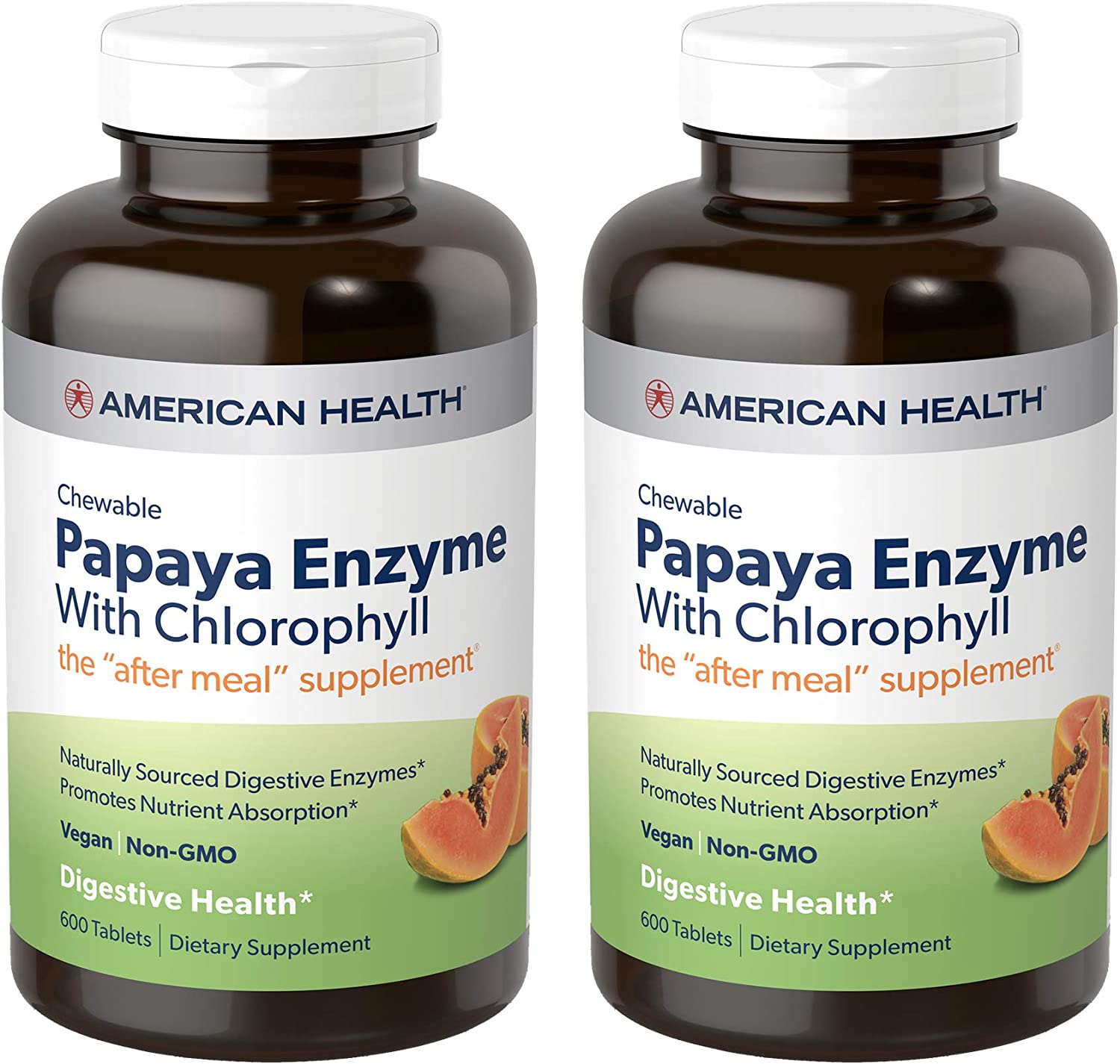 American Health Papaya Enzyme with Chlorophyll Chewable Tablets, 2 Pack - Promotes Nutrient Absorption, Helps Digestion and Freshens Breath - Gluten-Free, Vegetarian - 600 Tablets, 400 Total Servings