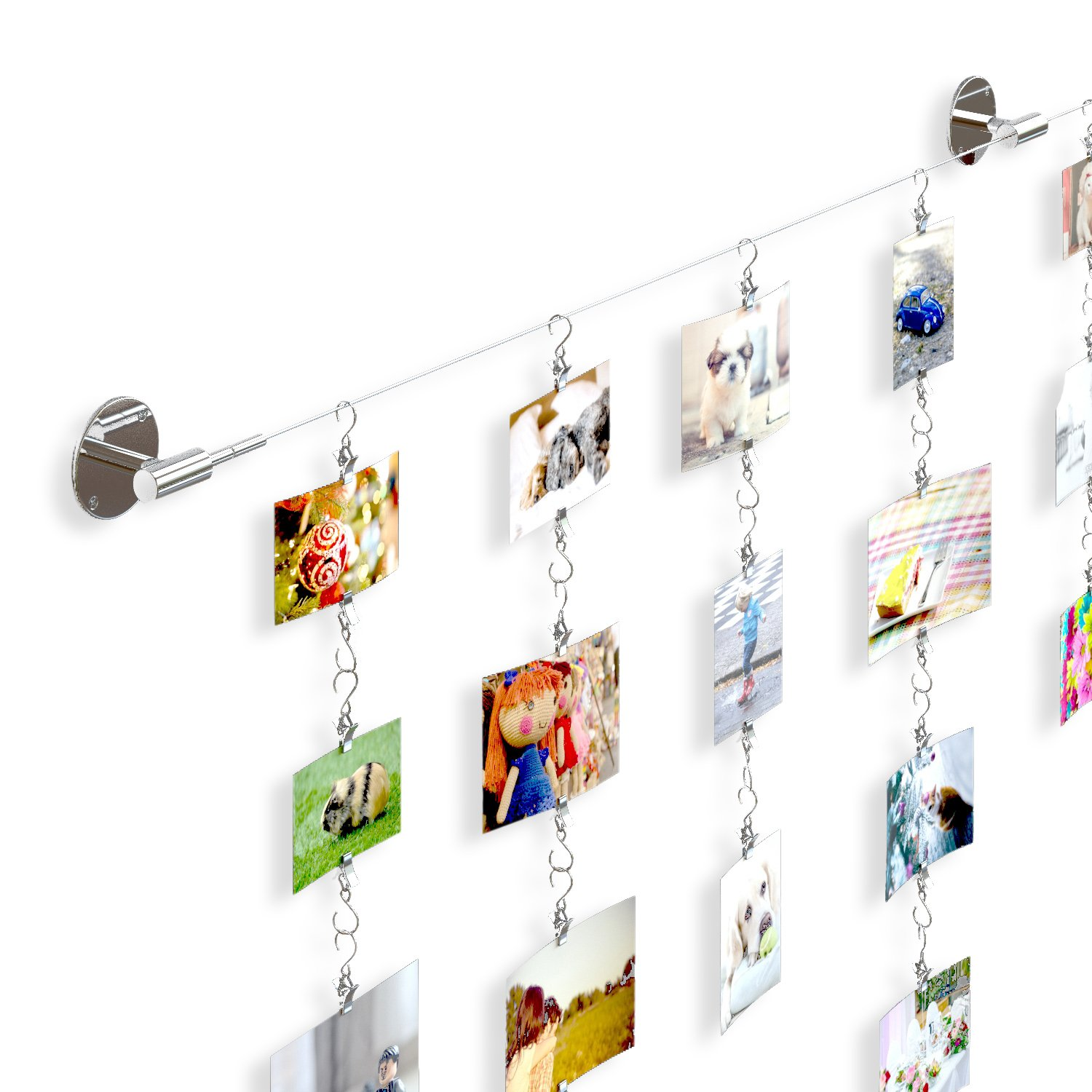 Soho Premium Expandable Chrome Photo Picture Collage Holder  Complete Hanger Set for Family Pictures Childrens Artwork and Painting Display Also Perfect for Photo Collage Projects by Fasthomegoods