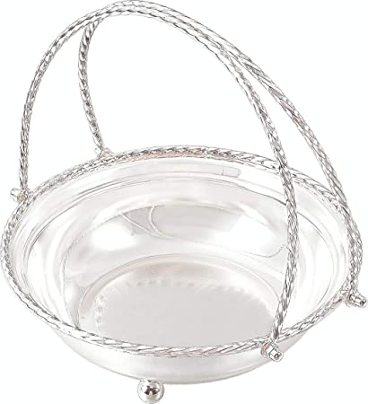 a82f22dab8d6d Buy Ekaani Silver Plated Round Basket with Handle