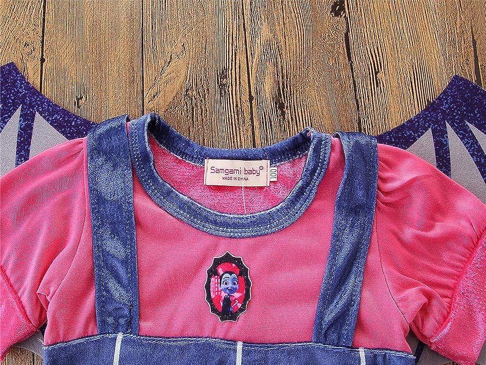 H.eternal Halloween Vampire Costume Short Sleeve Fancy Dresses Wing Bat Headwear Cosplay Baby Girls 1-6 Years Blue