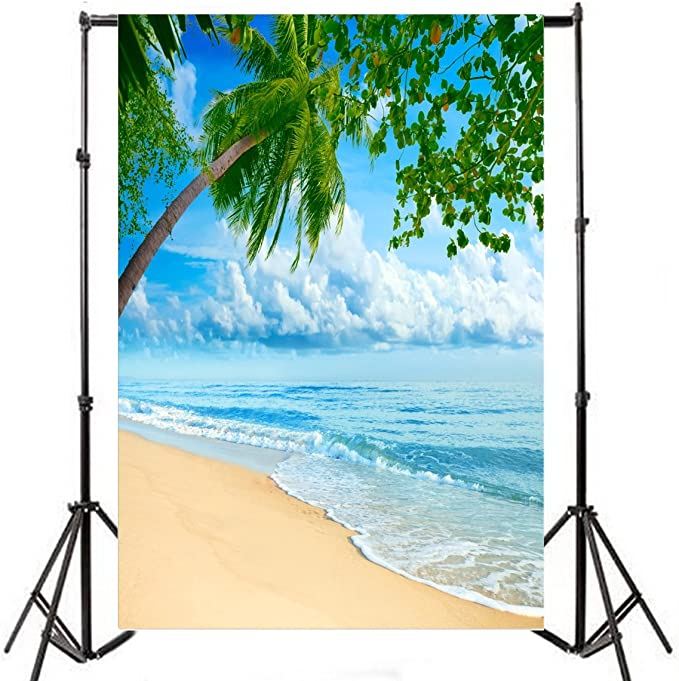 OERJU 5x3ft Spain Vigo Islas Cies Backdrop Blue Sea White Wave Miles of Picturesque Island Plants Background Vacation Holiday Boys Girls Adults Artistic Portrait Photos Vlog Video Shooting Props