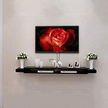 Noir TV Armoire Set Top Box étagère Salon TV Mur Fond étagère Murale Chambre  à Coucher