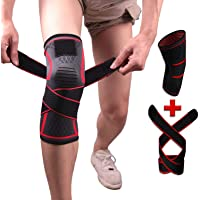 Knee Brace Support Adjustable Compression Sleeve Wraps Pads New Generation Knee Protector for Single Pack Red