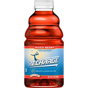 R.W. Knudsen Family Recharge Mixed Berry Flavored Sports Beverage, 32 Ounces, 6 Count