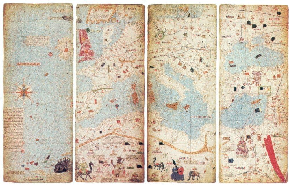Mapamundi Abraham Cresques Catalan Atlas World Wall Map 1375 Mapamondi Poster 1