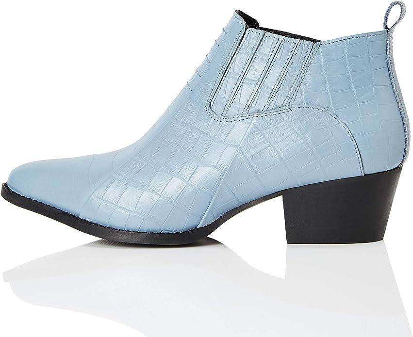 TALLA 36 EU. Marca Amazon - find. Croc Embellished Leather - Botines Mujer