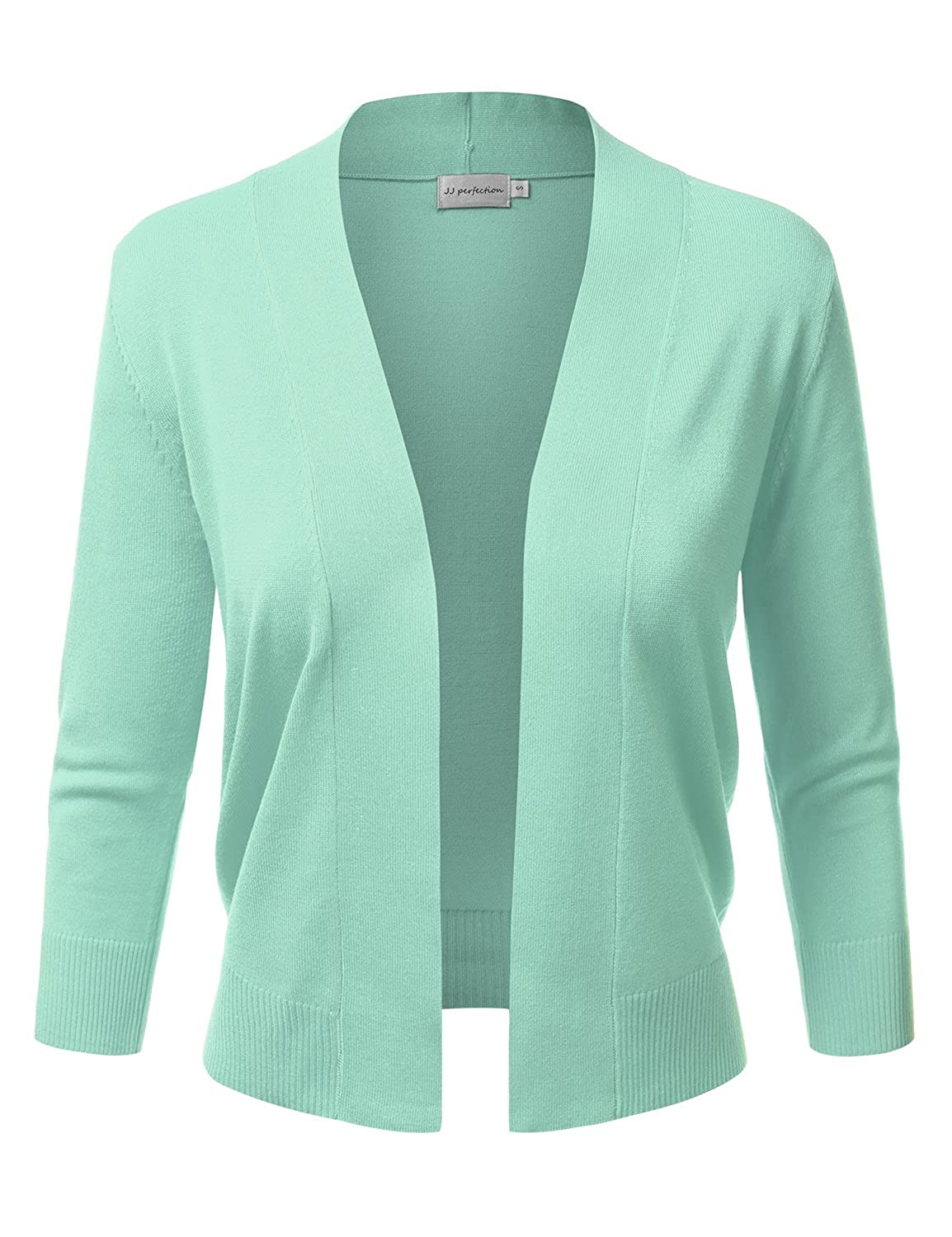 df72ce32b1 JJ Perfection Women s Basic 3 4 Sleeve Open Front Cropped Cardigan