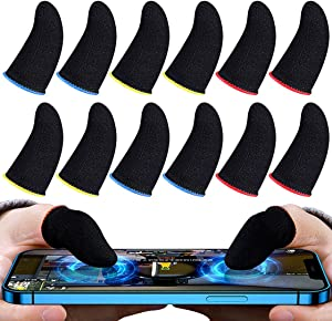 12 Pieces Finger Sleeves for Gaming, Thumb Sleeves Mobile Gaming Anti-Sweat Breathable Seamless Touchscreen Mobile Game Controller Finger Covers Set for PUBG