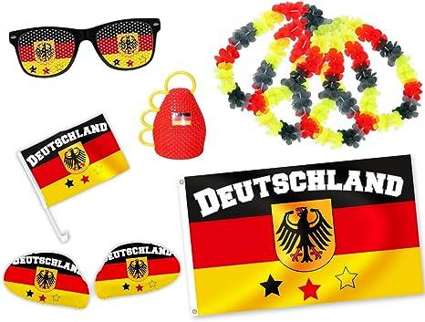 Alsino 9 Tlg Wm Fanpaket Deutschland Fp 02 Wm Fanartikel Fussball Fanset Flagge Caxirola Brille Küche Haushalt