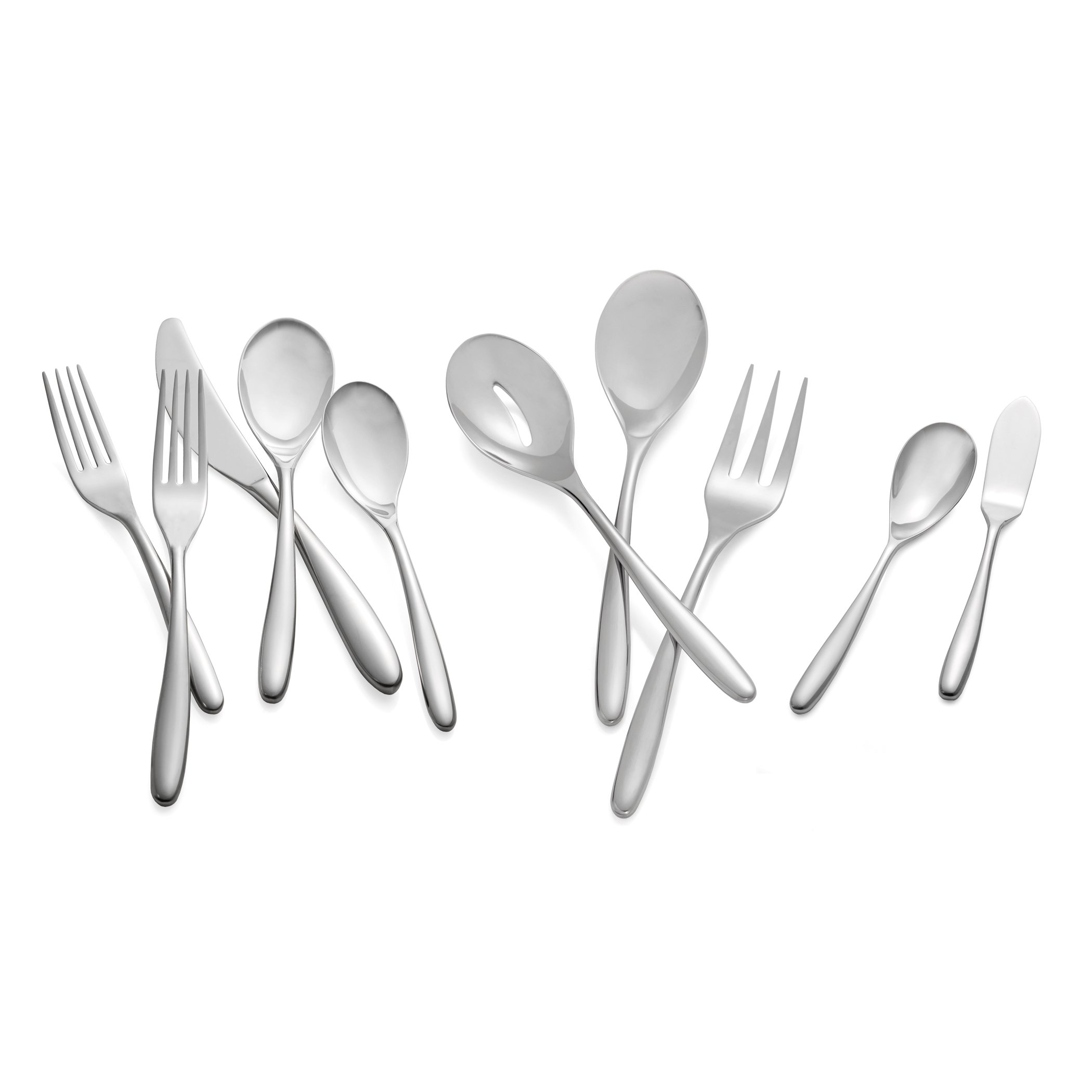 Nambè Bend Stainless Steel 45-Piece Flatware Set, Service for 8