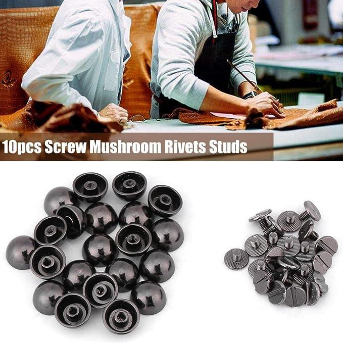 Lot de 10 rivets en m/étal en forme de champignon rivets /à vis pour ceinture en cuir Noir