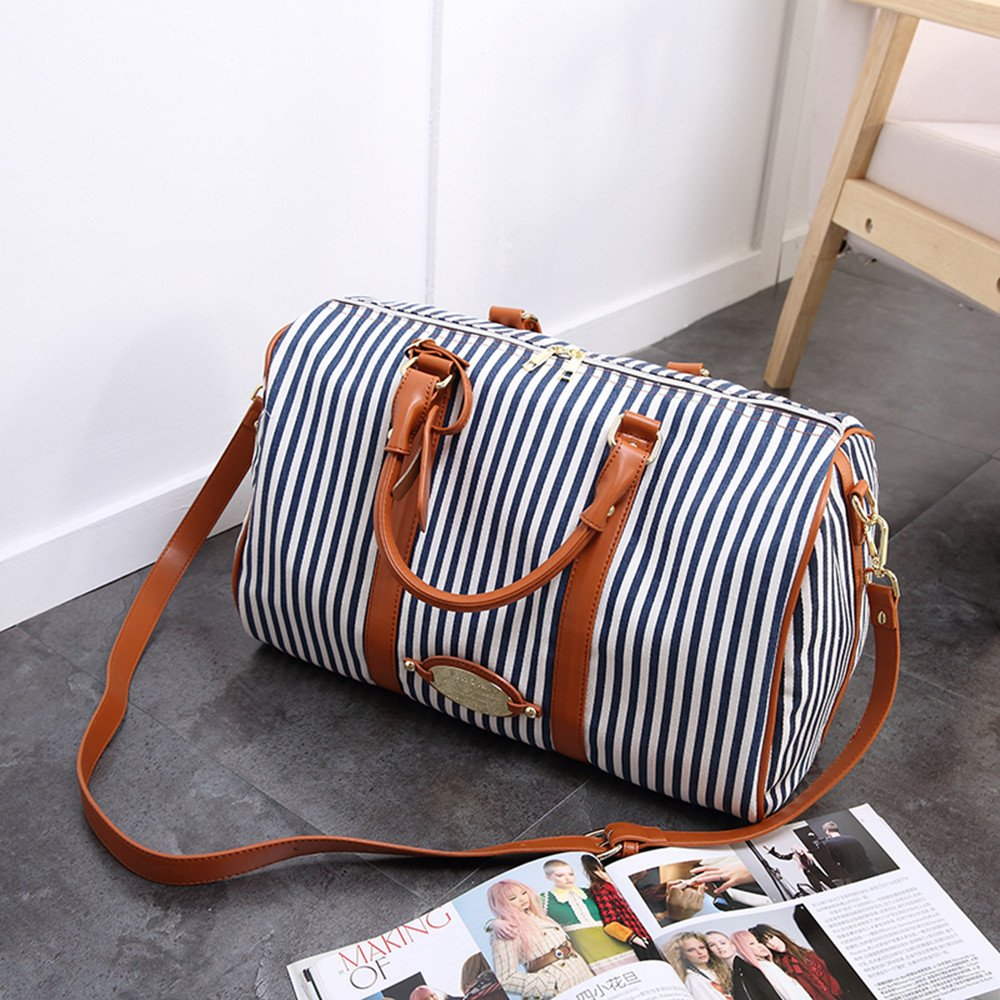MooYang Women Fashionable Weekender Travel Duffle Tote Bag. Canvas Striped Bag for Overnight Trip,Work,College,Gym,Vacations. by MooYang (Image #2)