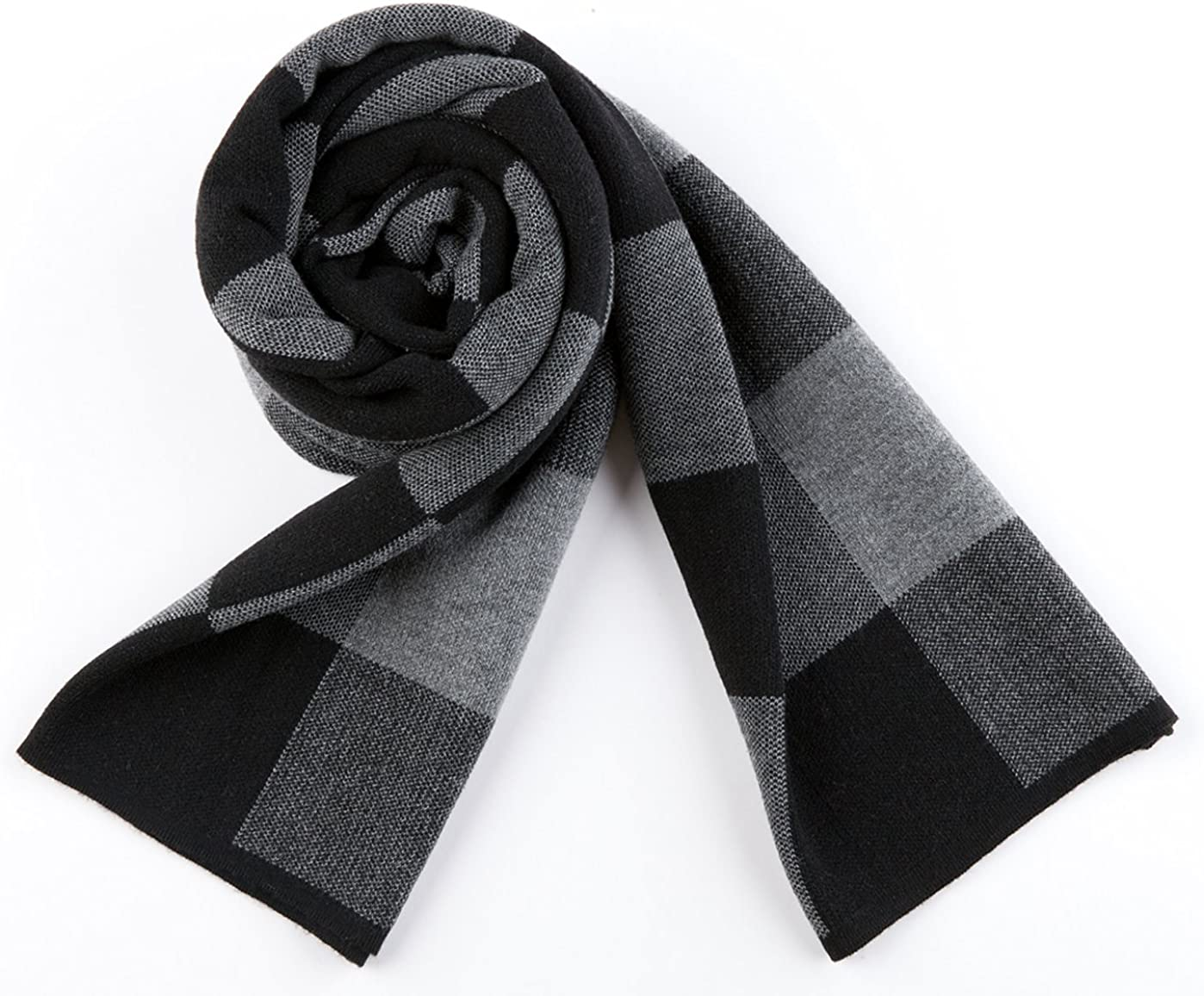 Mens Winter Thick Wool Scarf Classic Solid Color Fashion Scarves