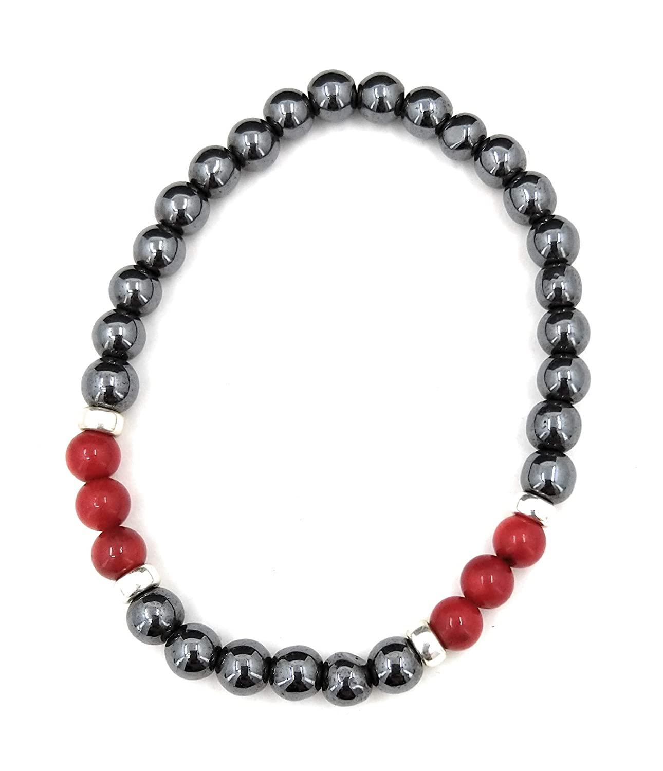 Hematite Red Coral And Sterling Silver Stretch Bracelet