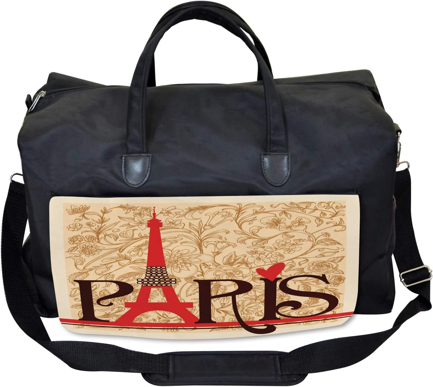 Paris Eiffel Tower View Large Weekender Carry-on Ambesonne Vintage Gym Bag