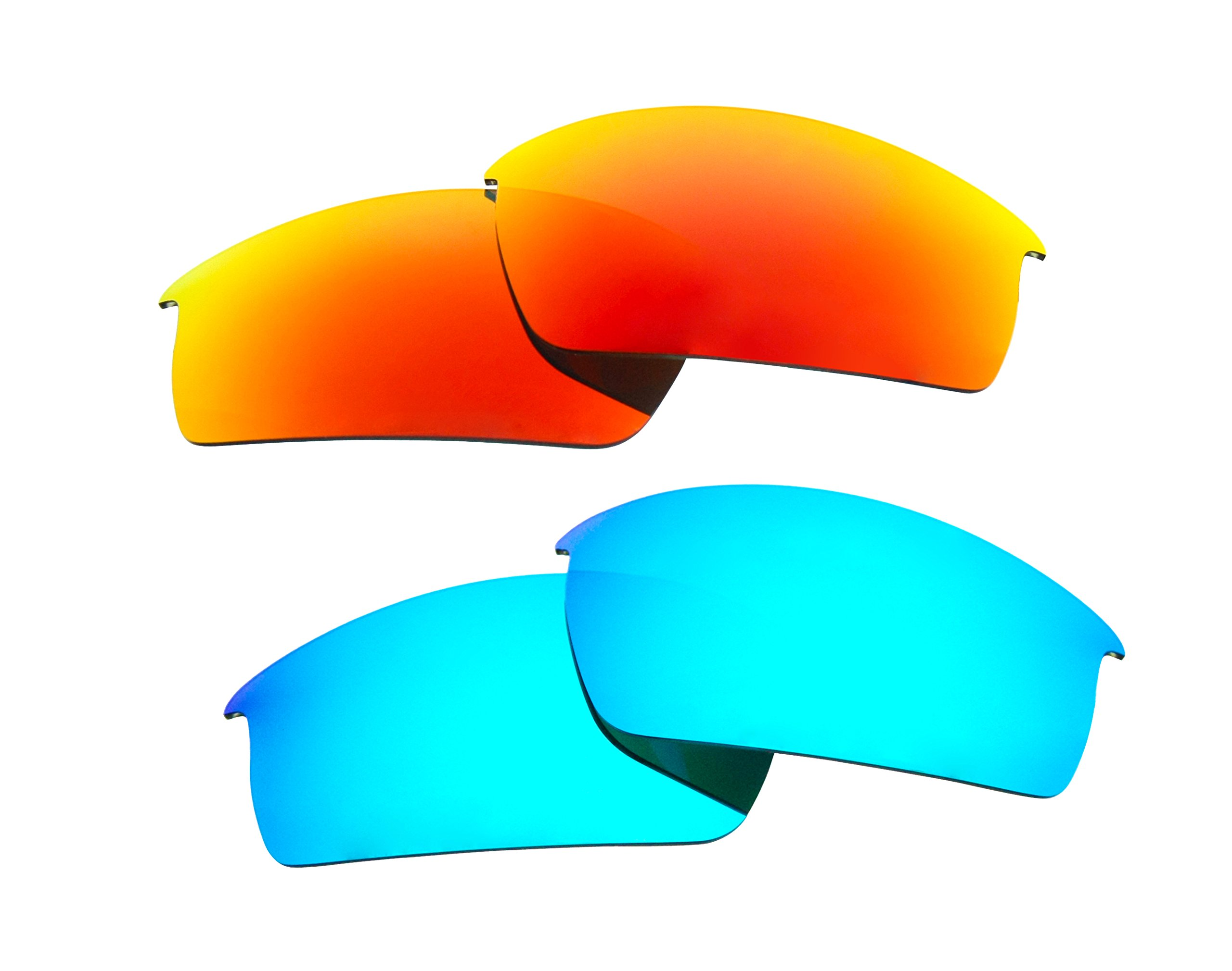 2 Pairs Polarized Replacement Sunglasses Lenses for Oakley Bottlecap with UV Protection(Ice Blue and Fire Red Mirror)