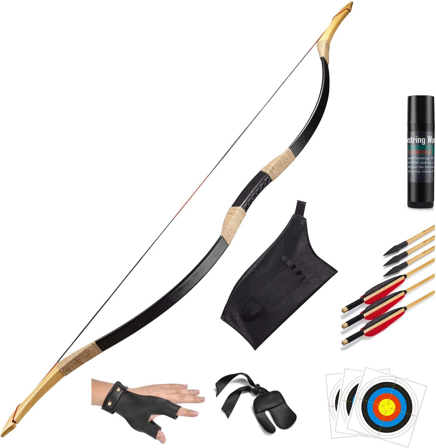 50inch Traditional Archery Hunting Recurve Bow Mongolian Horse Longbow brown