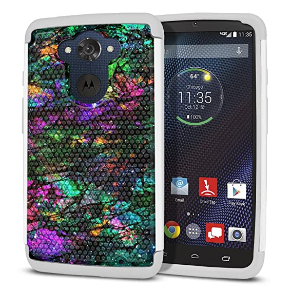 FINCIBO Droid Turbo XT1254 Case, Dual Layer Football Skin Hybrid Protector Cover Grey TPU Shock