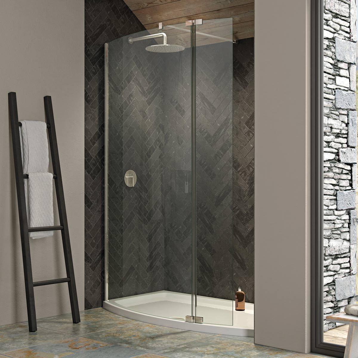 Kudos Ultimate 2 8 mm curvado Walk In hueco de ducha 1700 x 700 ducha con bandeja: Amazon.es: Hogar
