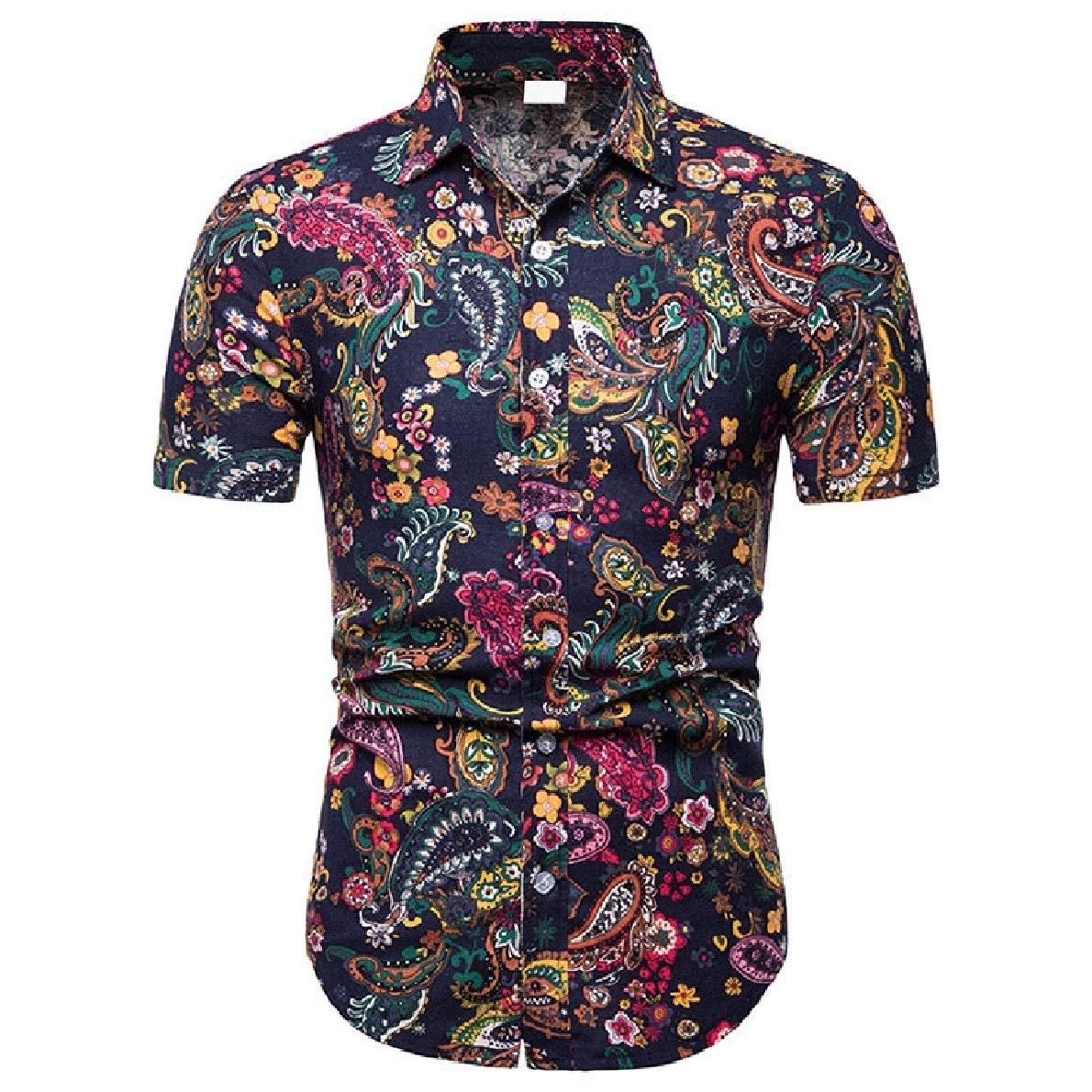 Zimaes-Men Turn Down Collar Beachwear Navajo Floral Short Sleeve Dress Shirt
