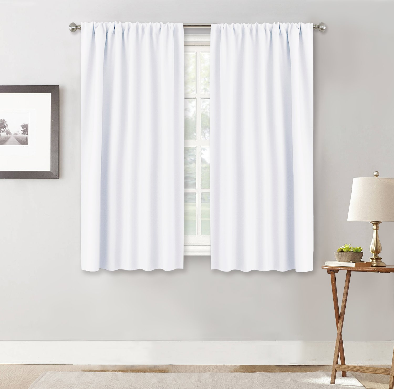 RYB HOME Bedroom Room Darkening Curtains Shades - Home Decoration Rod Pockets Window Covering Curtain Drapes Noise Reducing for Living Room/Kitchen, W 42'' x L 45'', Pure White, 2 Pieces