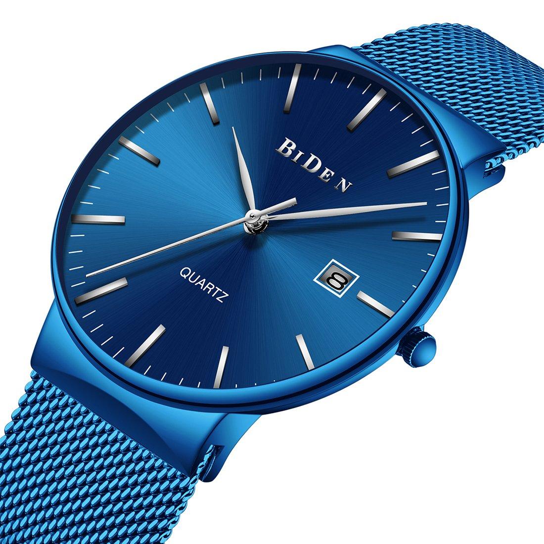 Mens Minimalist Watches Men Waterproof Luxury Casual Wrist Watch Stainless Steel Mesh Watch for Men Blue