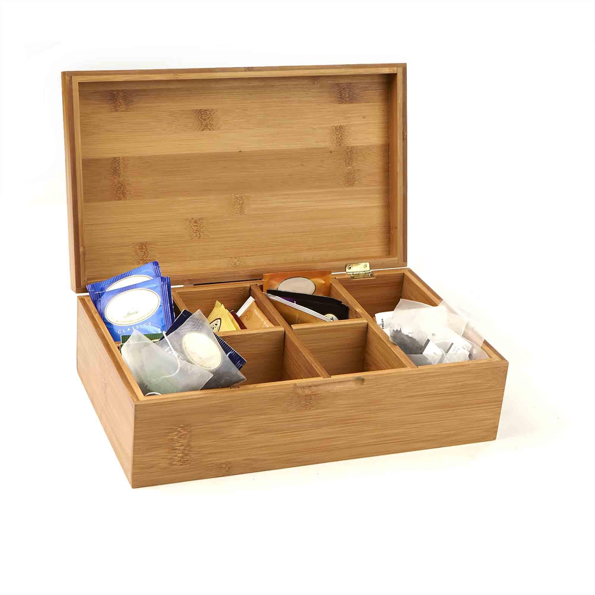 Mind Reader Bamboo Tea Box Storage Organizer, 8 Compartment Chest Box, Natural