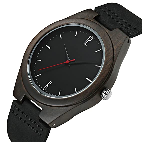 Para hombre Negro Madera relojes hombres 30 m impermeable Retro Simple reloj de pulsera analógico reloj de pulsera de piel Para Hombre: KDM: Amazon.es: ...