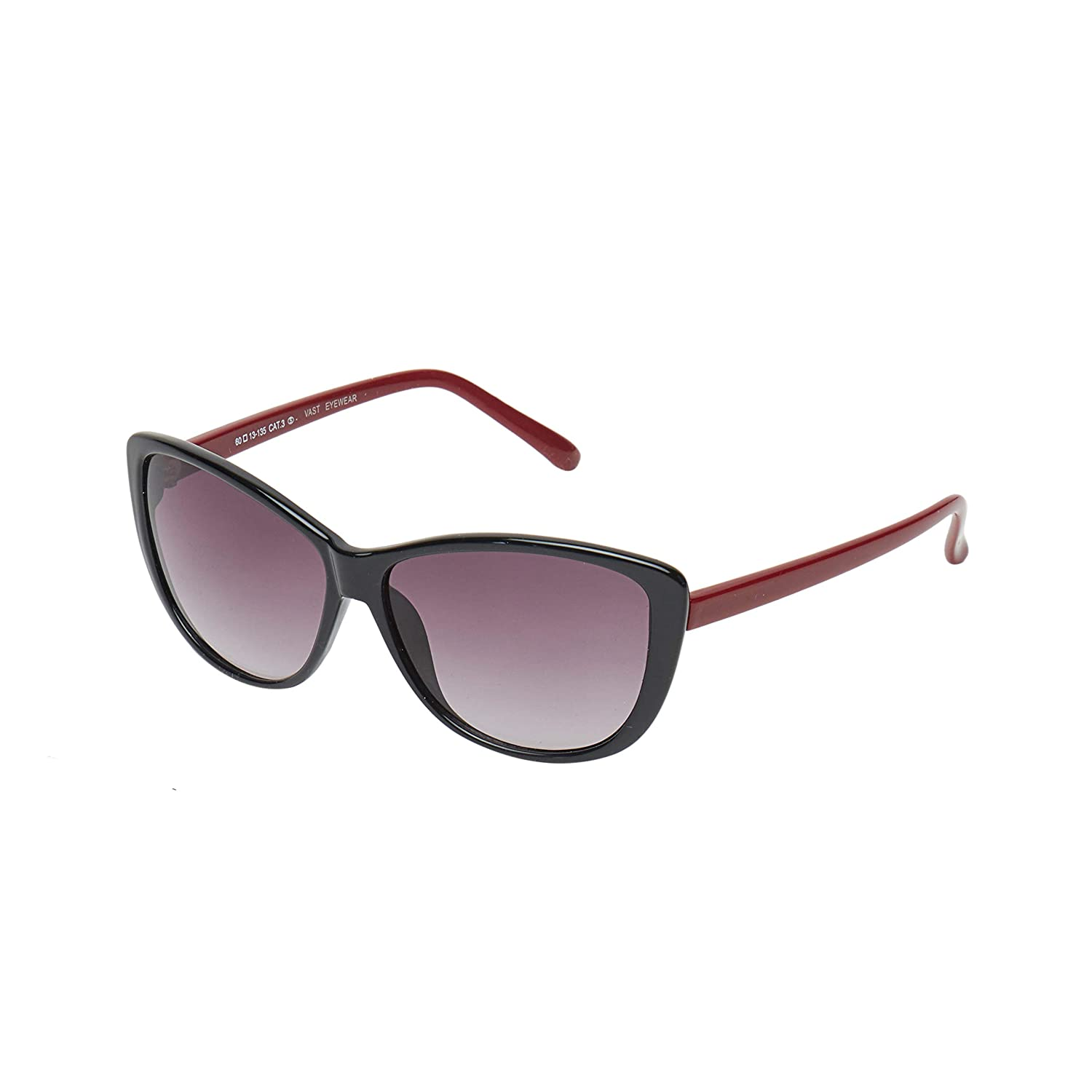 Vast UV Protection Cat Eye Women Sunglasses (9918C2BlkRed|60|Grey Lens)