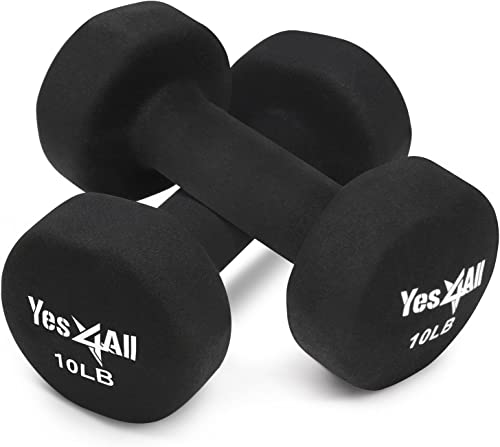 Yes4All Hexagon Neoprene Coated Dumbbell Pair – Multiple Weight Options