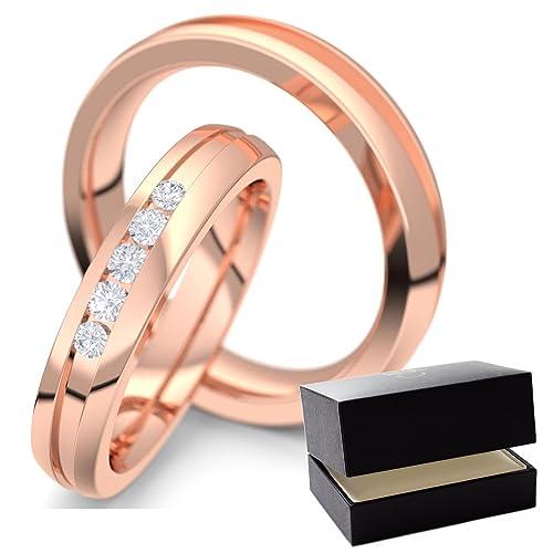 Oro Rosa eheringe/confíes anillos diamond 585 + con Estuche + diamond eheringe/confíes