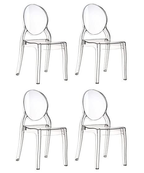 Set di 4 Sedie Design in Policarbonato Trasparente Cristal Light ...