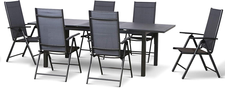 Siena Garden - Conjunto de muebles de jardín de 7 piezas, aluminio y textil, 6 sillas plegables Bolero y una mesa extensible Miros 180/240 x 90 cm, con placa de piedra de spray, color antracita